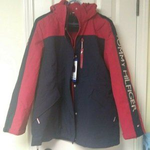 Tommy Hilfiger 3 in 1 Hooded Jacket Red & Navy New